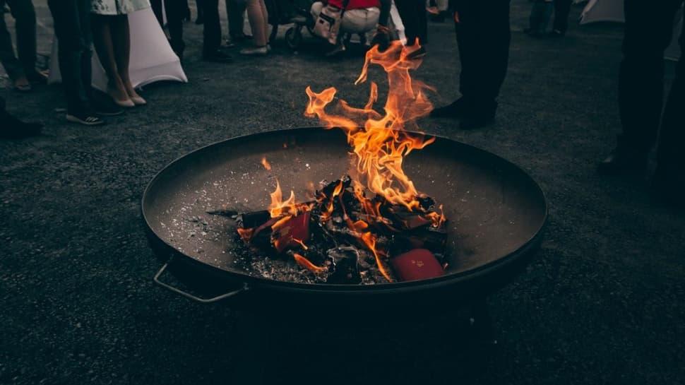 Gran Brasero para exterior en llamas
