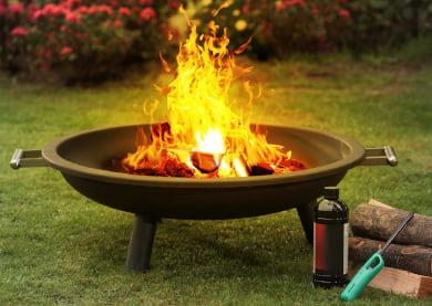 Brasero de gran diámetro para el jardín, resistente y de acero grueso para fuegos grandes