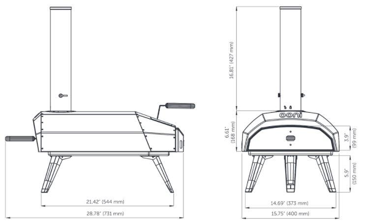 Plano del horno de leña para hacer pizzas de la marca ooni karu 12